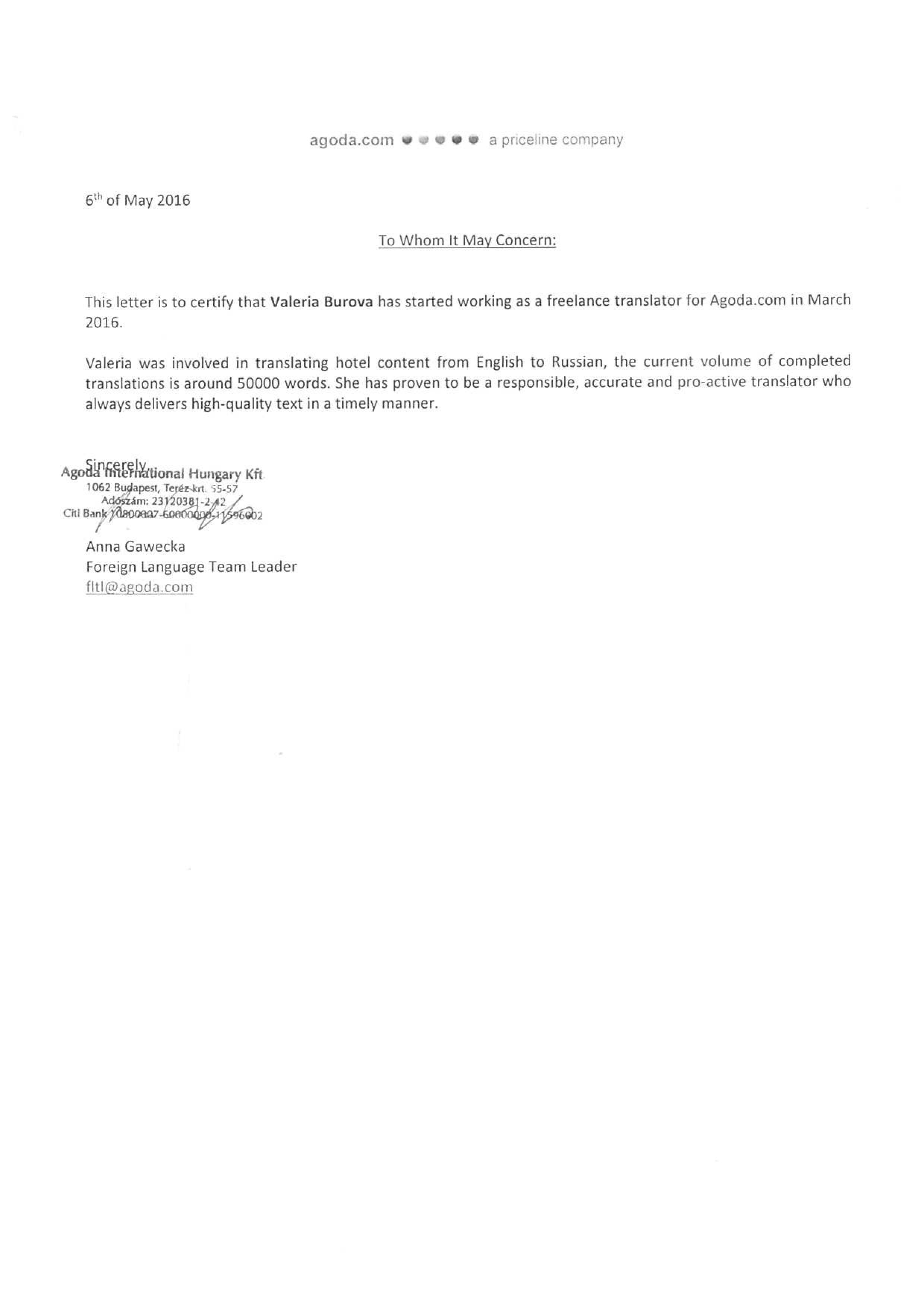 Interpreter Recommendation Letter Interpreting Reference